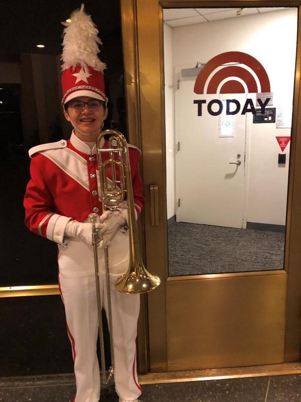 Student in Macy Day Parade uniform