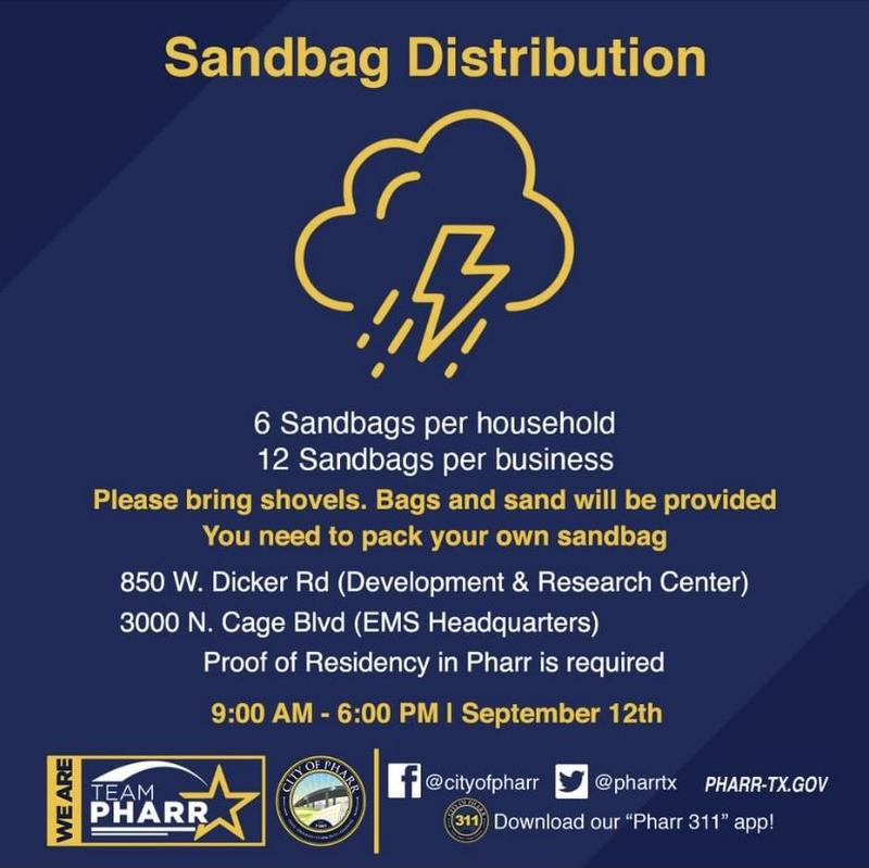 City of Pharr distributes Sandbags today. Featured Photo