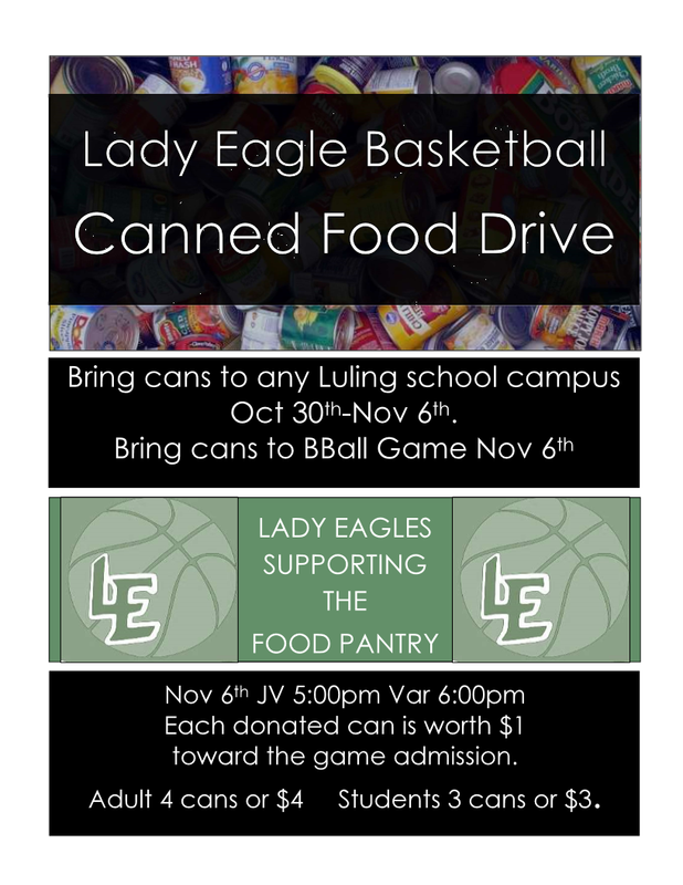Lady Eagles Basketball Canned Food Drive - October 30th through November 6th. Thumbnail Image