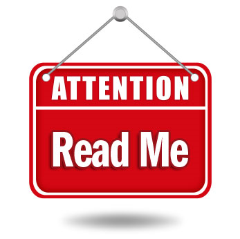 Image that reads Attention - Read Me