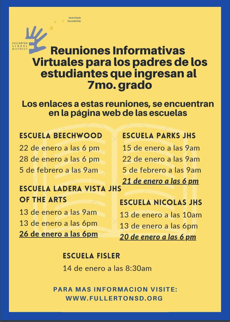 Parent Information Spanish