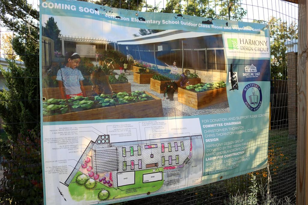 Photo of landscape architects proposed design of Jefferson School garden.