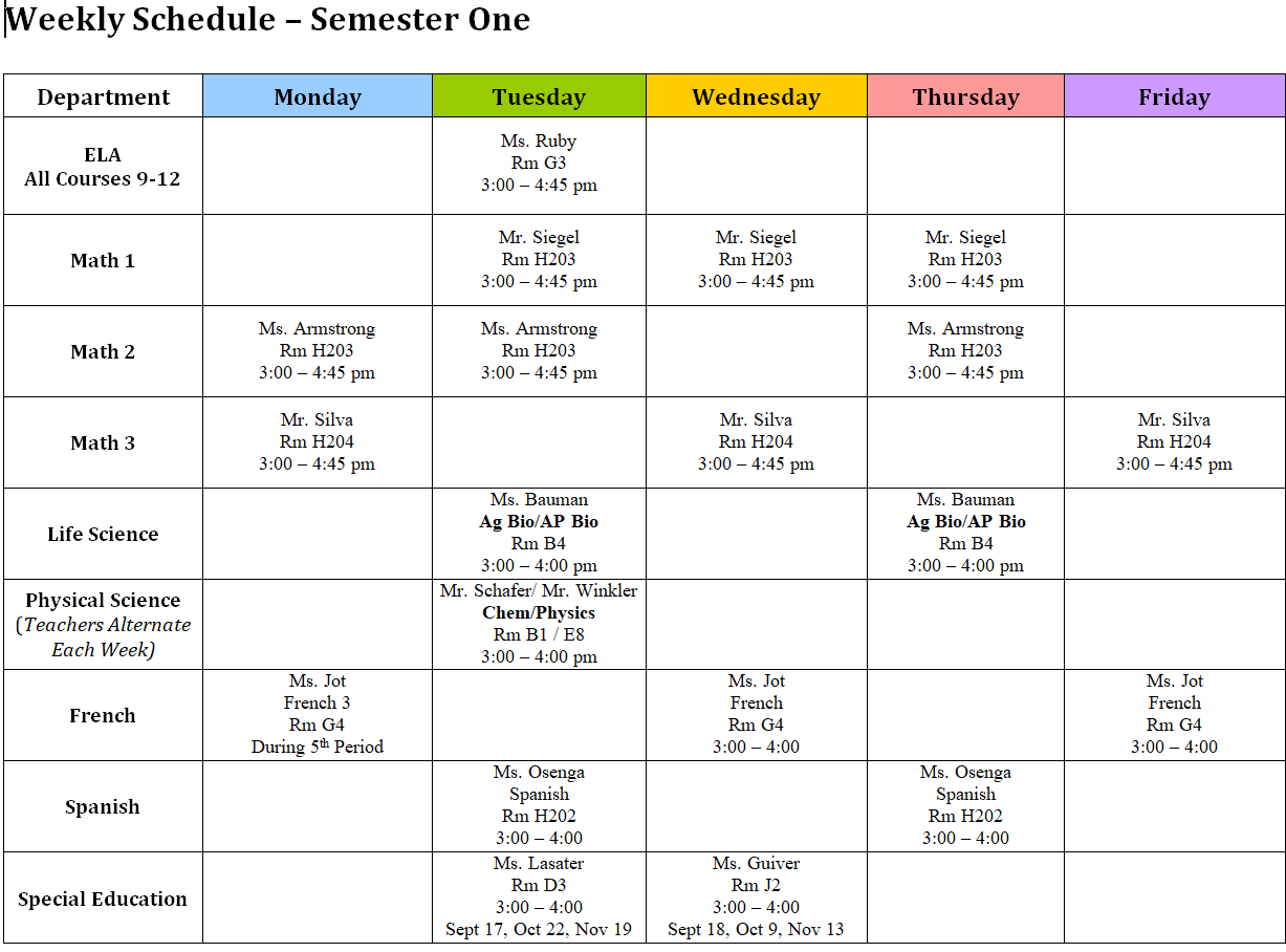 academic support schedule: for info call 335-4425 x201