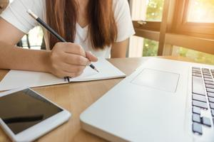 Image of a student learning from home