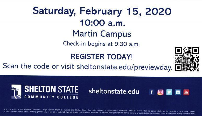 Shelton State Community College Preview Day, Feb. 15 10 a.m.