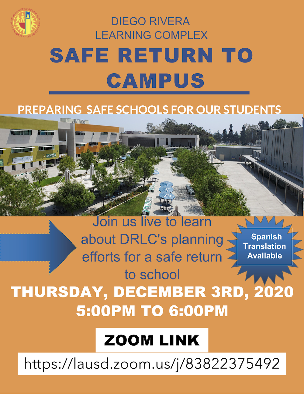 Diego Rivera Complex Townhall Meeting: Safe Return to Campus Information Image
