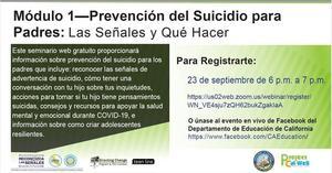 Prevencion del Suicidio para Padres