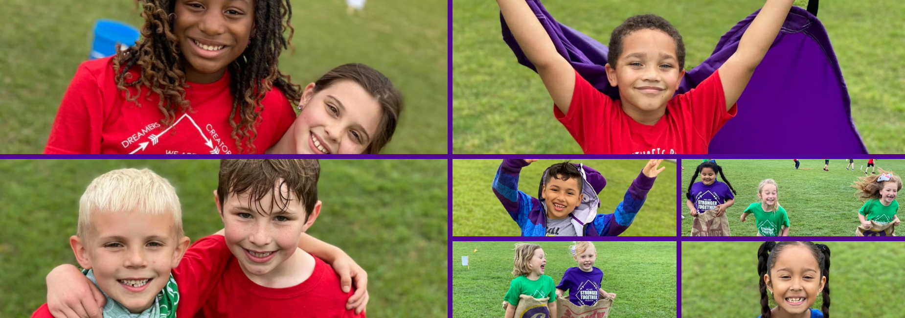collage of 8 pictures featuring elementary kiddos playing at field day