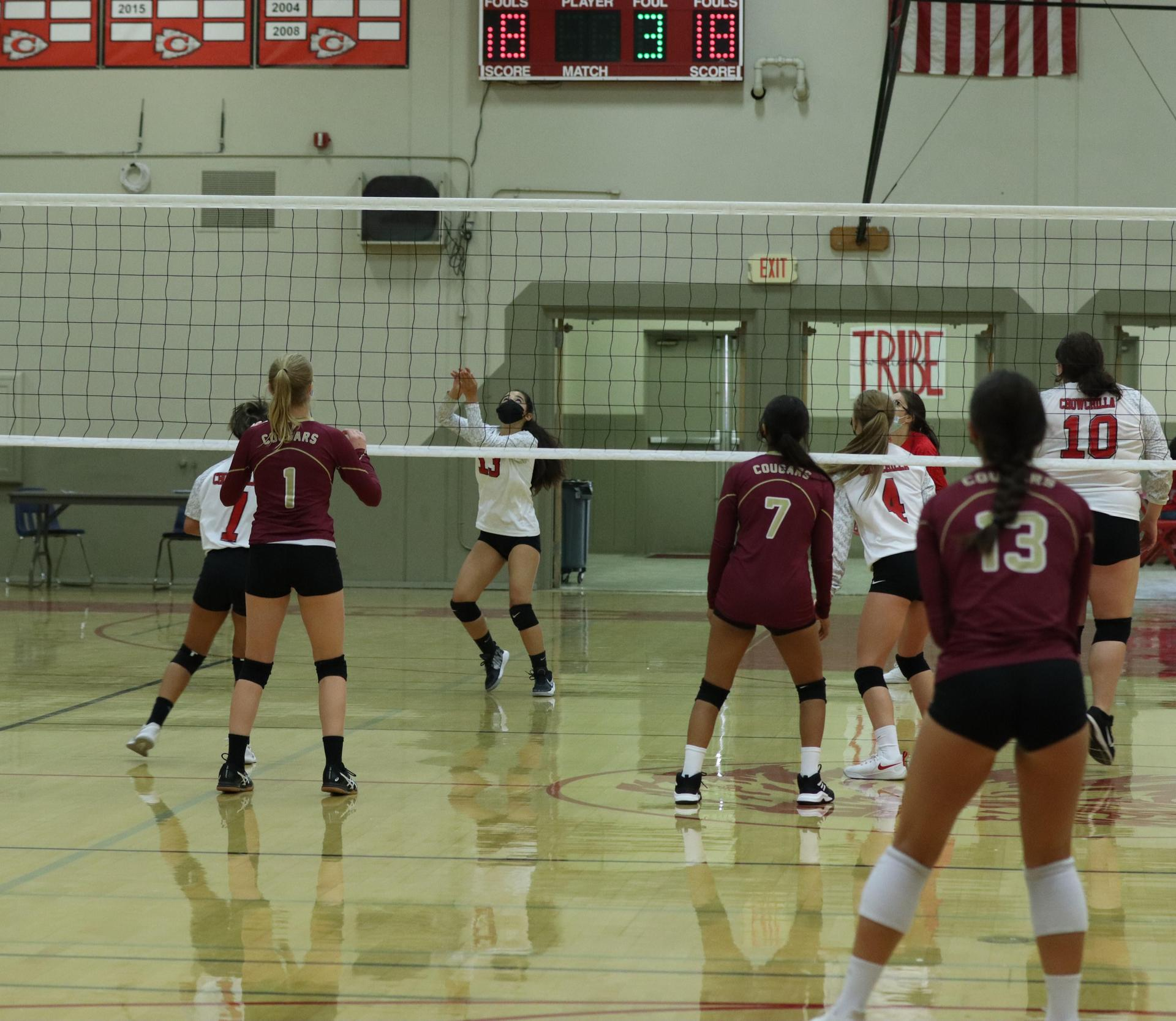 JV Girls playing volleyball against Golden Valley