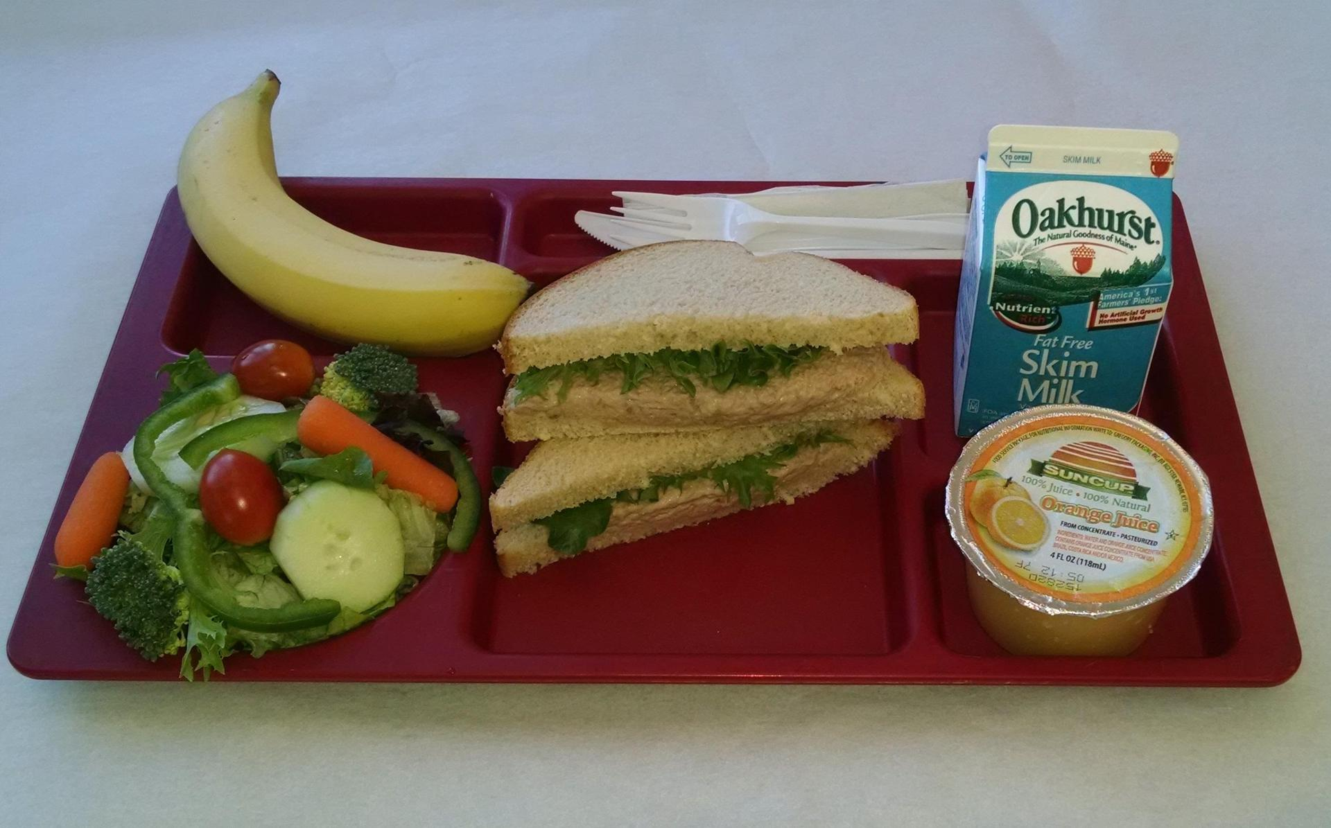 Tuna Salad, Salad, Banana, 100% Juice and Milk