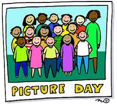 color picture of kids and teacher with the word picture day
