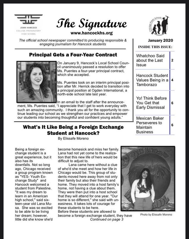 January issue of the school paper