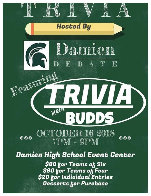 Debate to Host Fundraiser: Trivia with Budds Featured Photo
