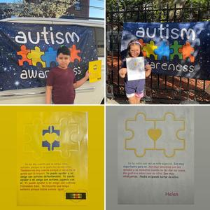 Autism sign pictures on top and assignments on bottom