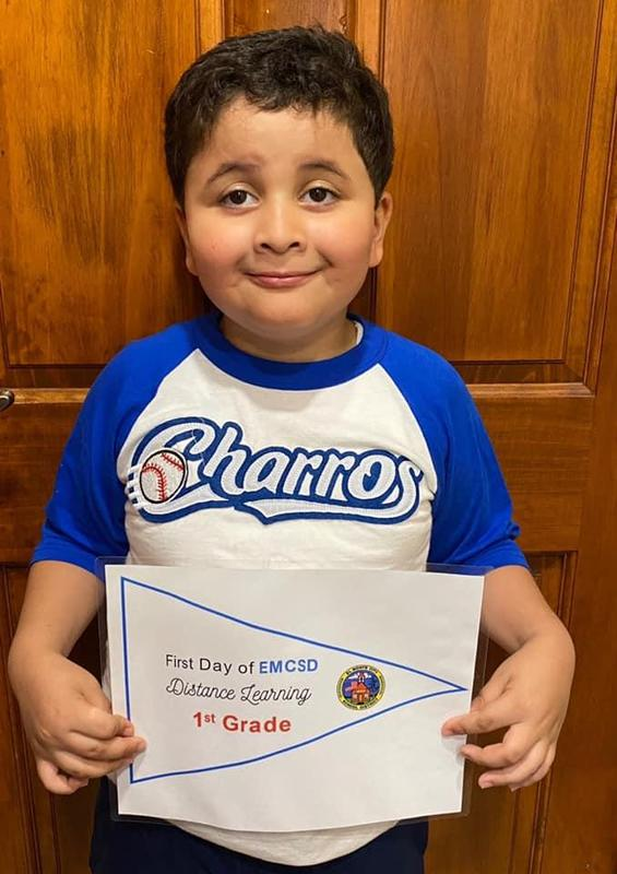 An El Monte City School District first-grader prepares for his first day of distance learning at Columbia School on Aug. 20. For the 2020-21 school year, the District is implementing new programs and focusing on tech, health and safety.