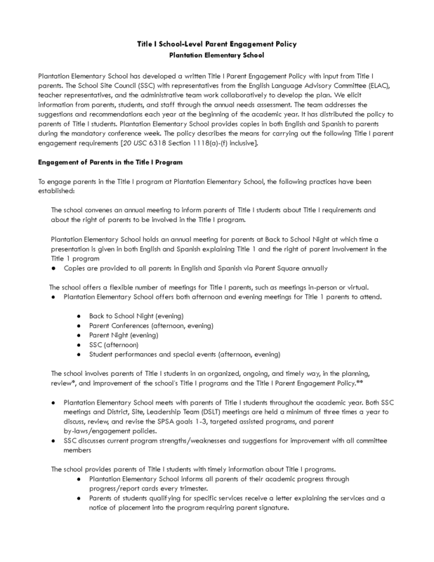 Parent Engagement Policy