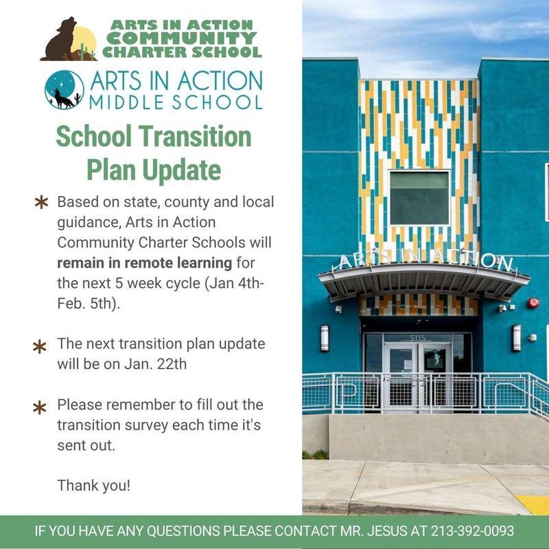 School Transition Plan Update/ Actualización del plan de transición escolar Thumbnail Image
