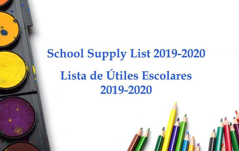 School Supply List / Lista de Útiles Escolares 2019-2020 Thumbnail Image