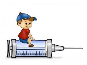 little boy sitting on big needle