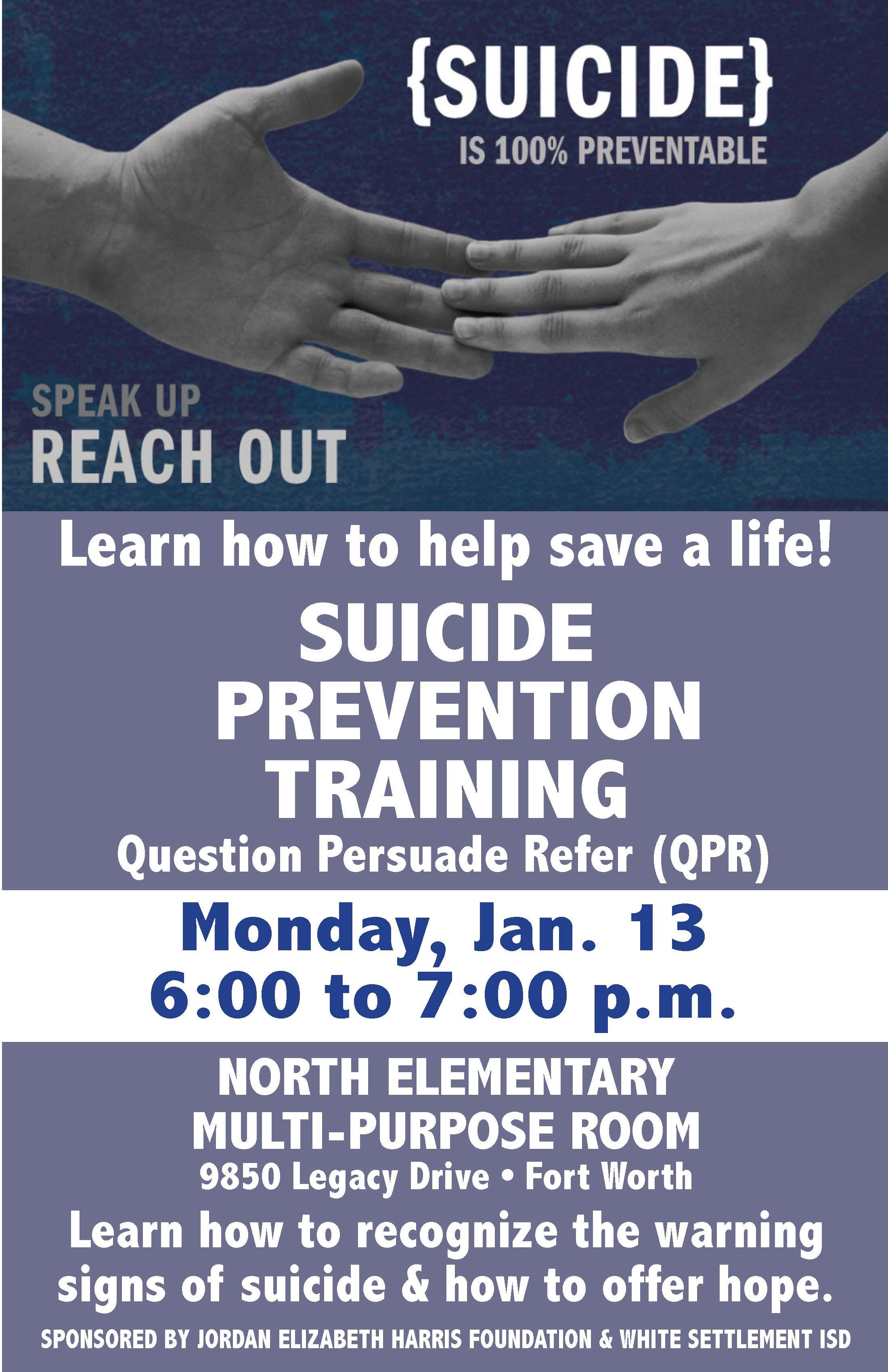 Suicide Prevention Training Jan. 1