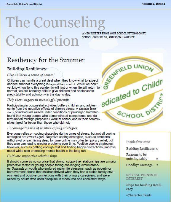 Counselor's Corner Newsletter Thumbnail Image