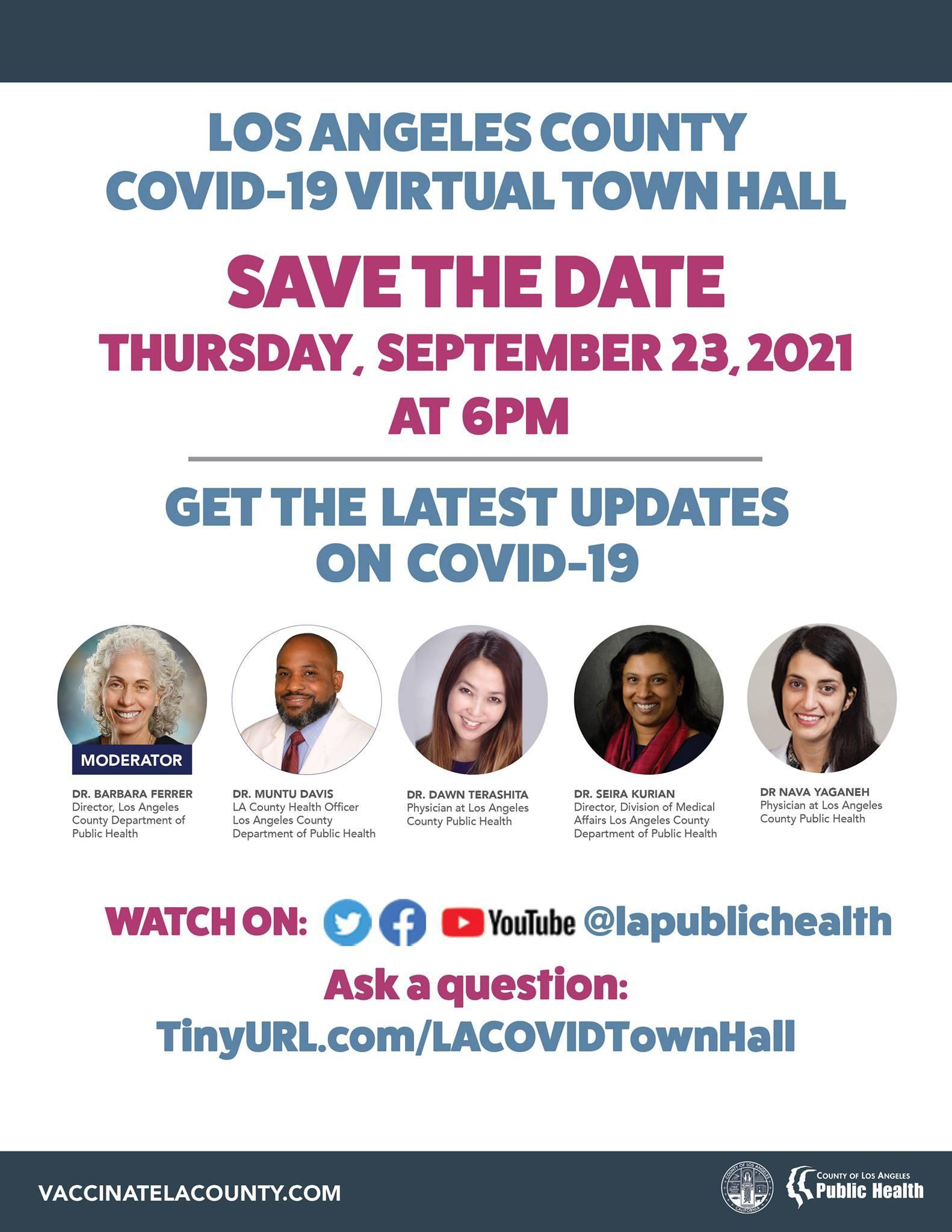 LA County COVID-19 Virtual Town Hall flyer stating all the information listed above