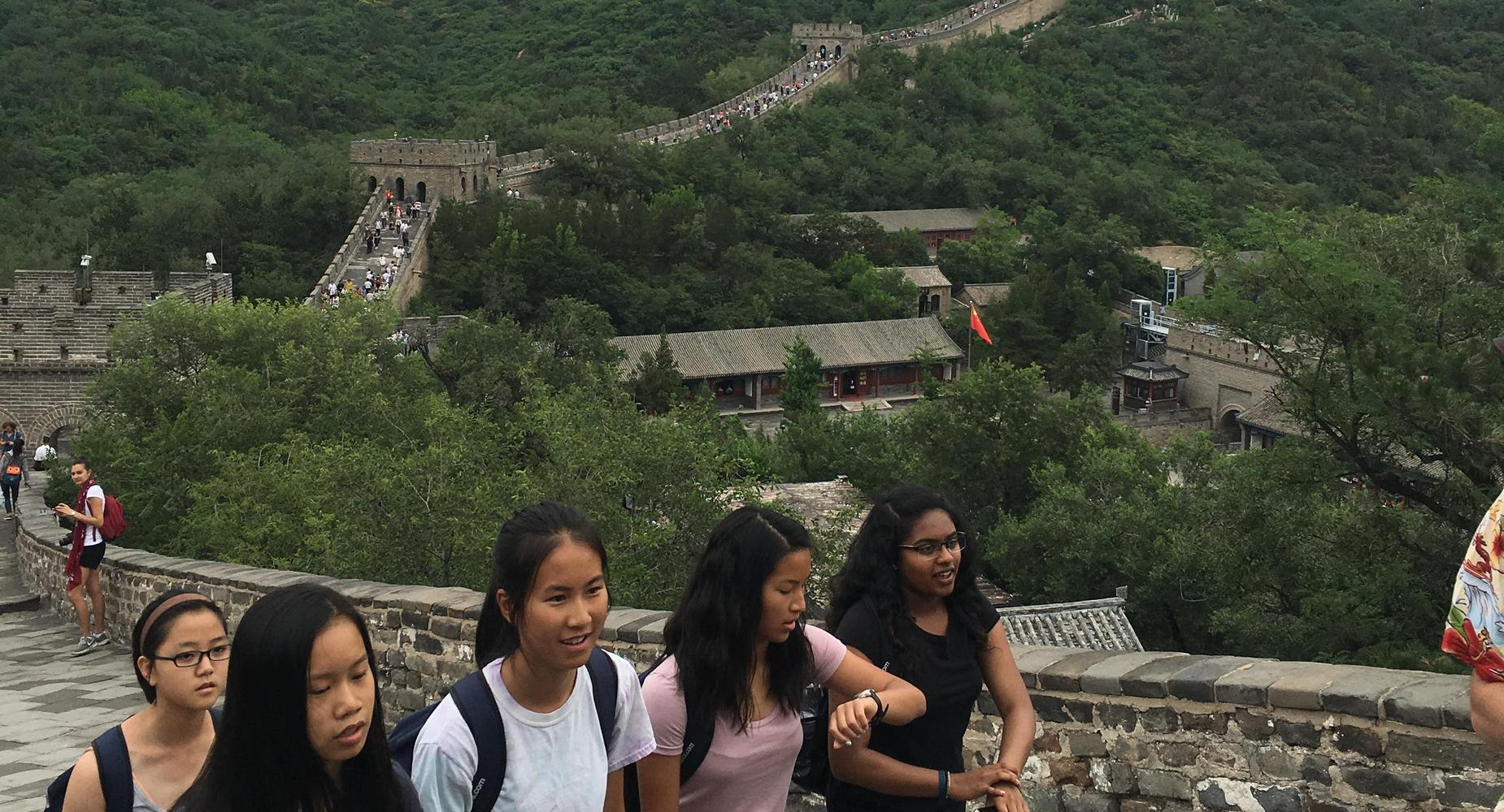 Students climbing the Great Wall of China
