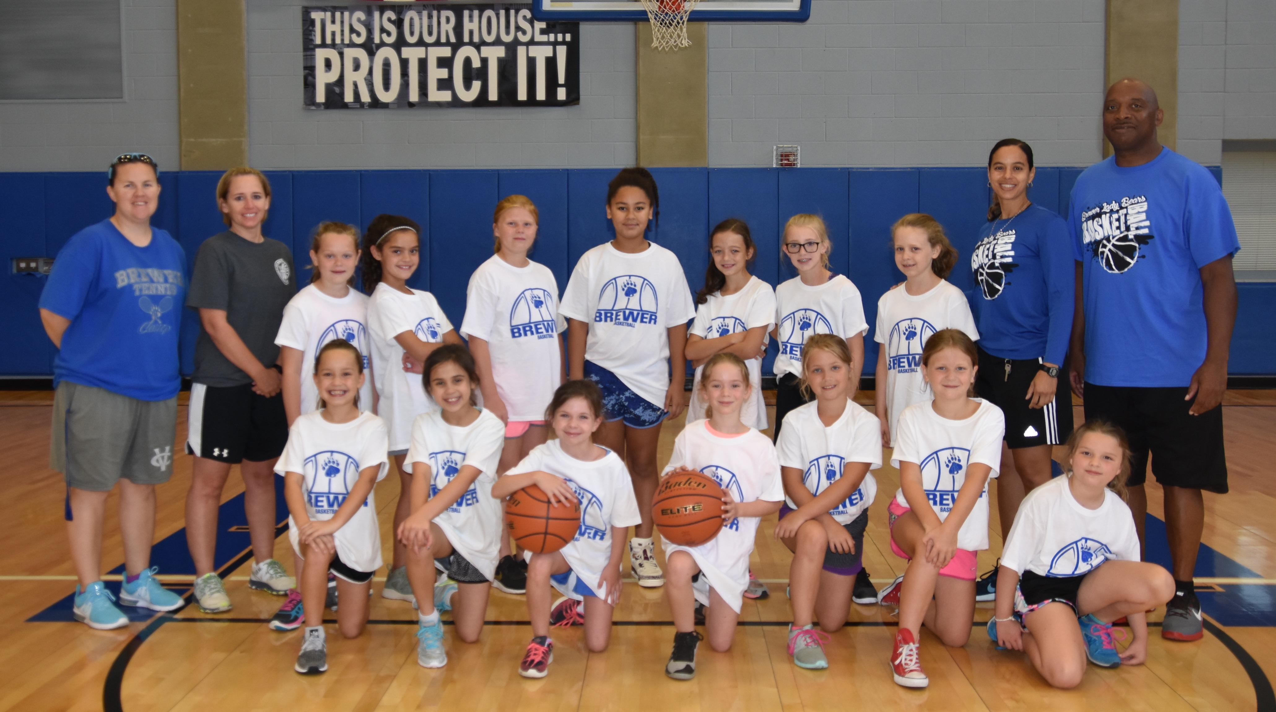 3rd - 5th graders who attended Brewer girls' basketball camp