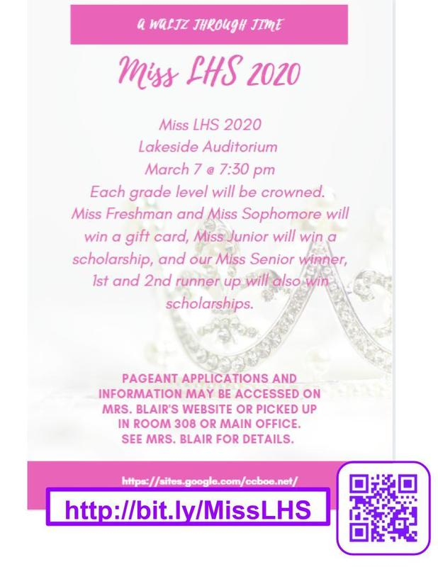 See Mrs. Blair for Miss LHS information