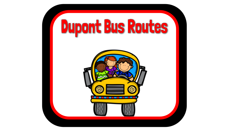 Cartoon image of three students in a yellow school bus with the text Dupont bus routes above