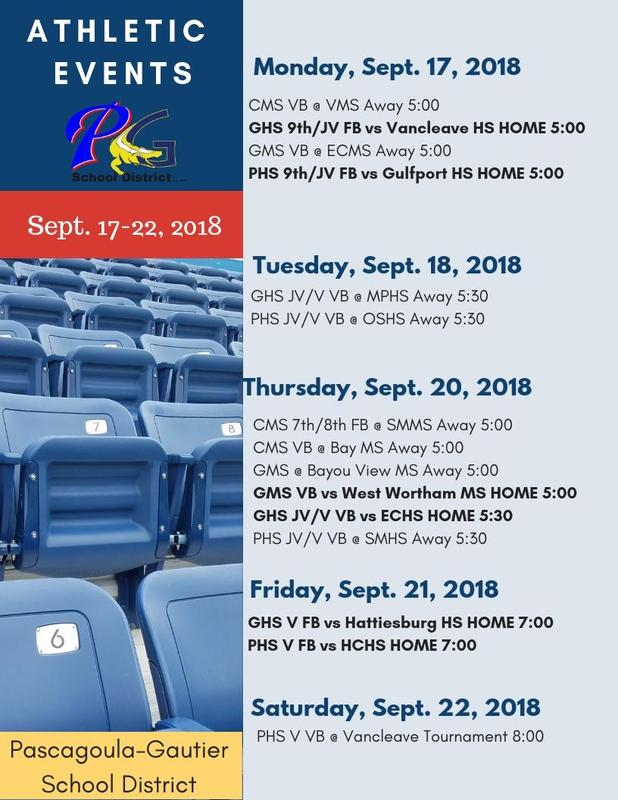 Athletic Events for Week of Sept. 17-22, 2018