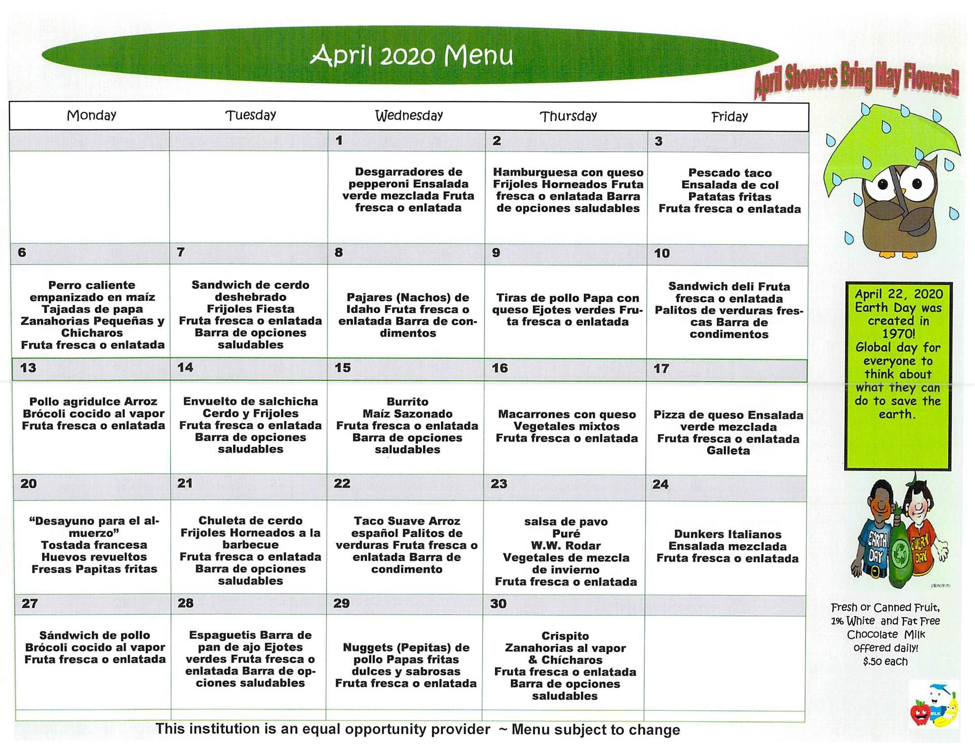 April 2020 Elementary Lunch menu Spanish