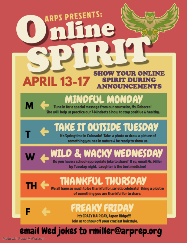 Show your spirit online during morning announcements flyer