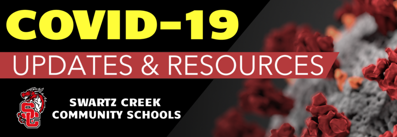 Banner with message COVID-19 updates and resources from Swartz Creek Community Schools