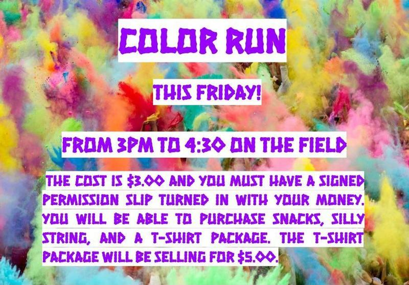 Colorful background with instructions for color run