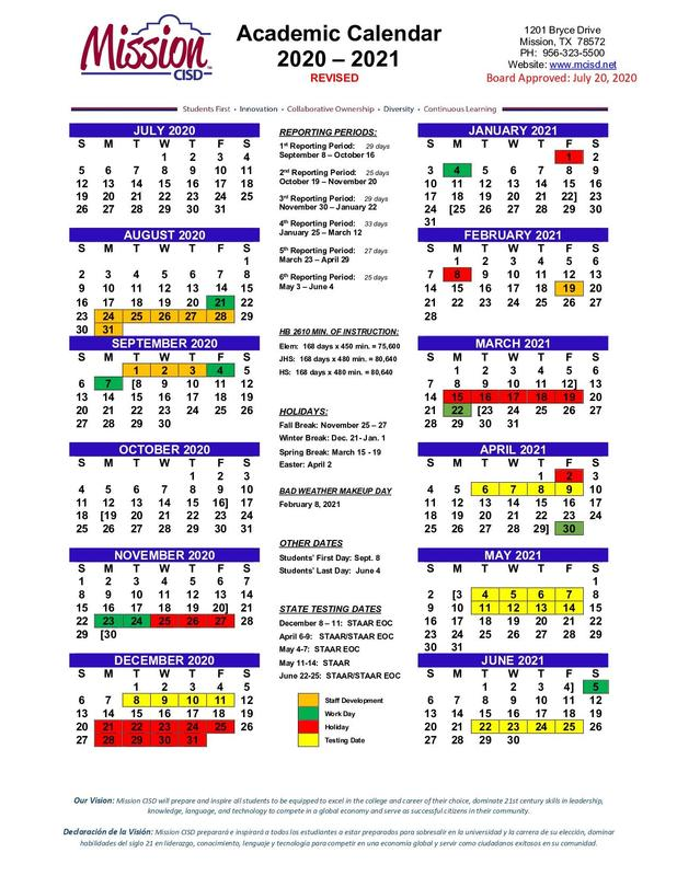 20-21 Revised Academic Calendar