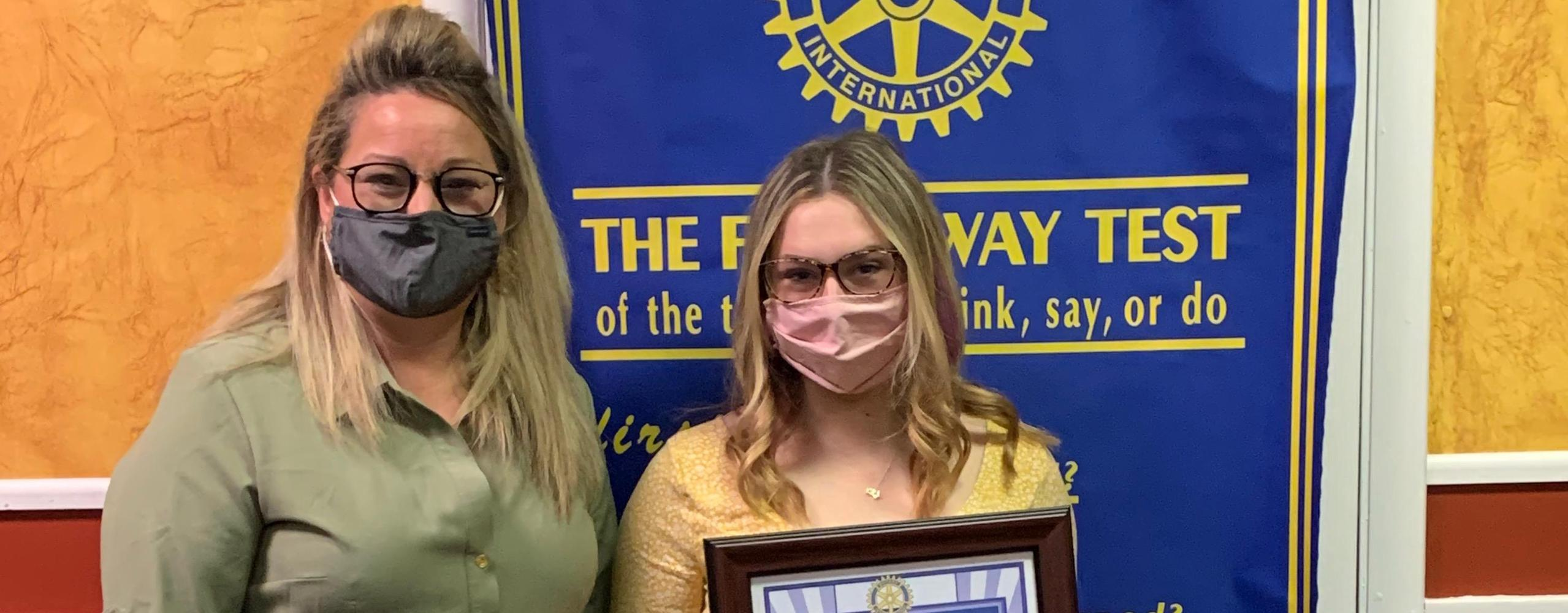 Congrats to Mikayla Gebhart for being selected as Rotary Student of the Month for March 2021 (joined by her nominator Dr. Britton)!