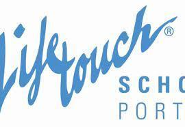 the word Lifetouch school portraits in light blue