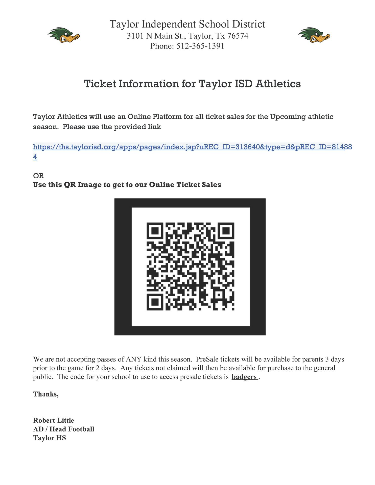 Taylor ISD Athletic Ticket Sales Information