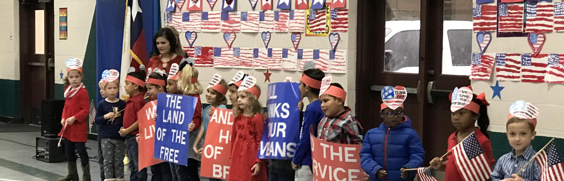students dressed up for veterans day
