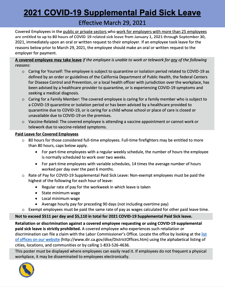 2021 COVID-19 Supplemental Paid Sick Leave Poster
