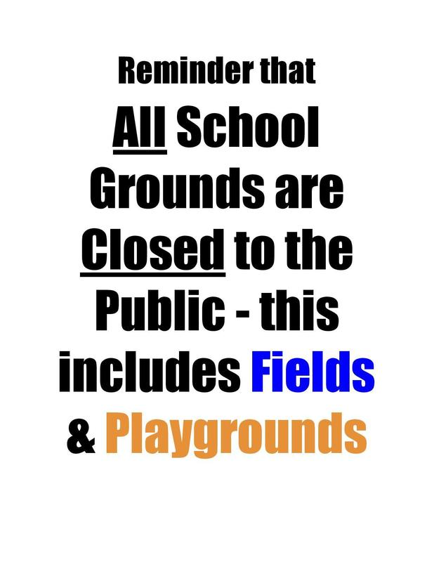 Reminder that School Grounds are Closed to the Public Featured Photo