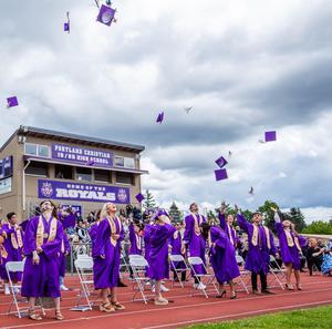 Seniors celebrating upon graduation