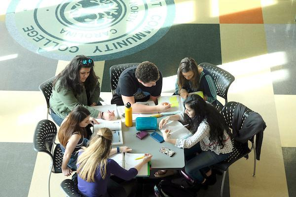 Levine Middle College students take classes and study on the college campus.
