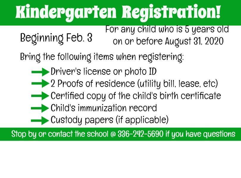 Image of Kindergarten registration sign