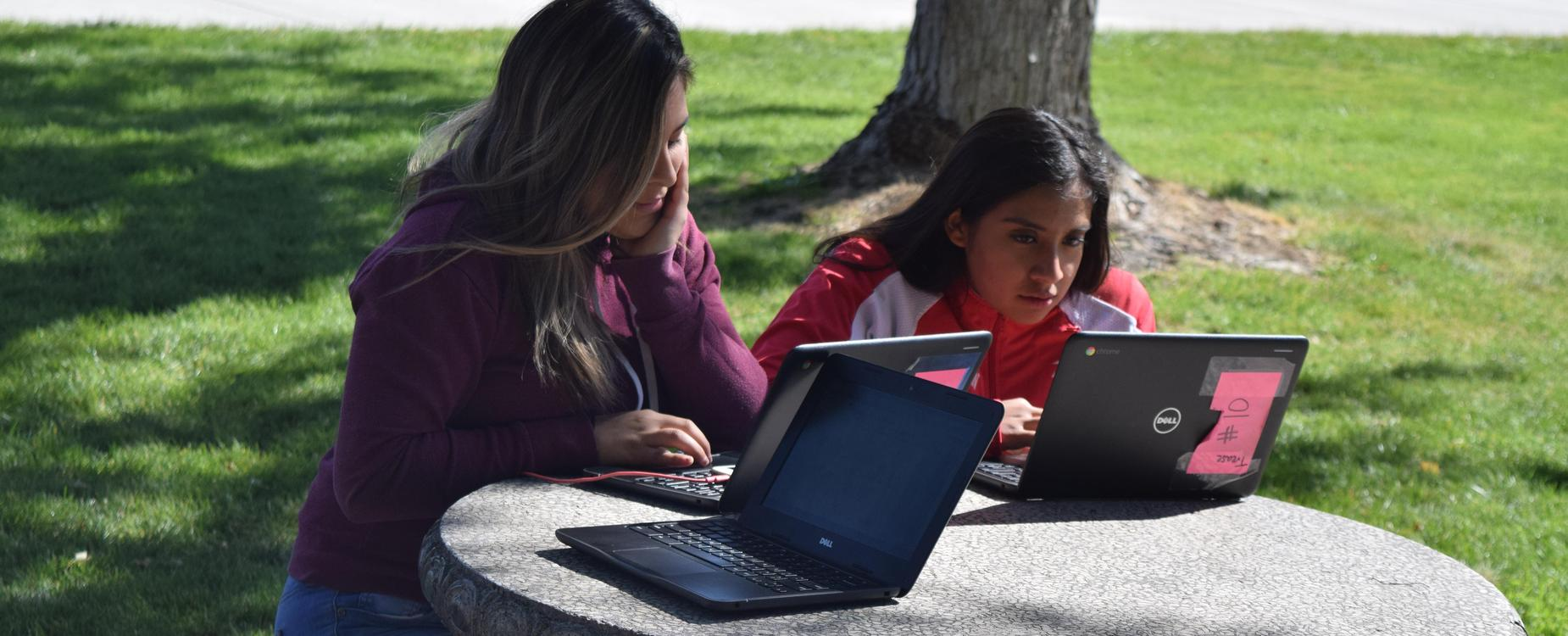 Students working on chromebooks outside