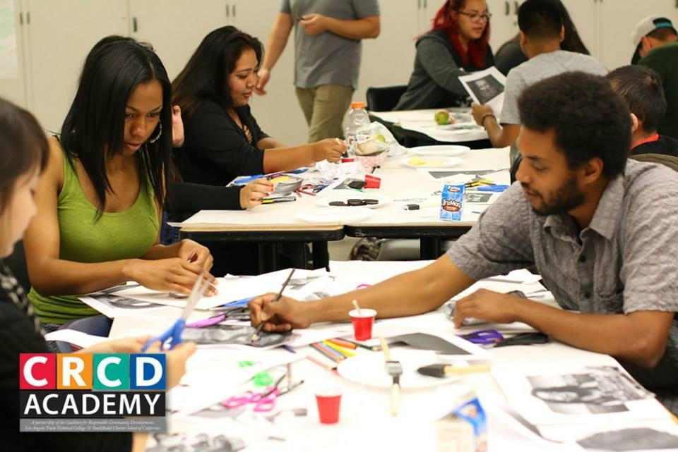 South LA students working on an art project