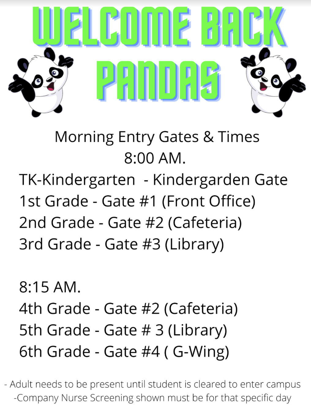 welcome back gate schedule