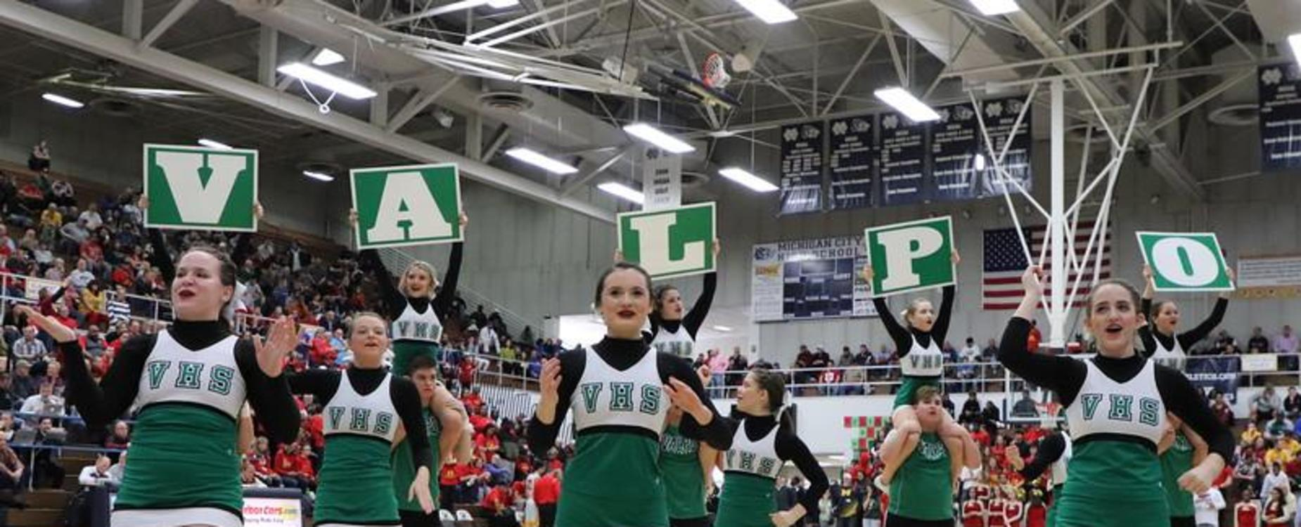 VHS Cheerleaders perform 'Valpo' cheer during a break in a boys basketball game.