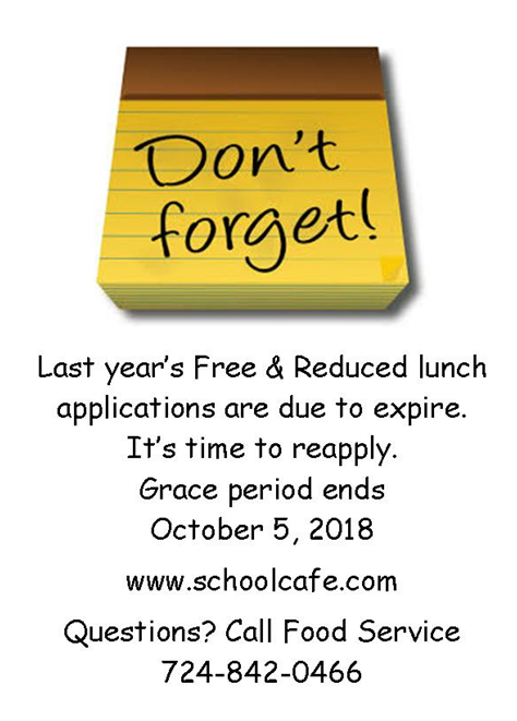 Free lunch applications from last year are expiring